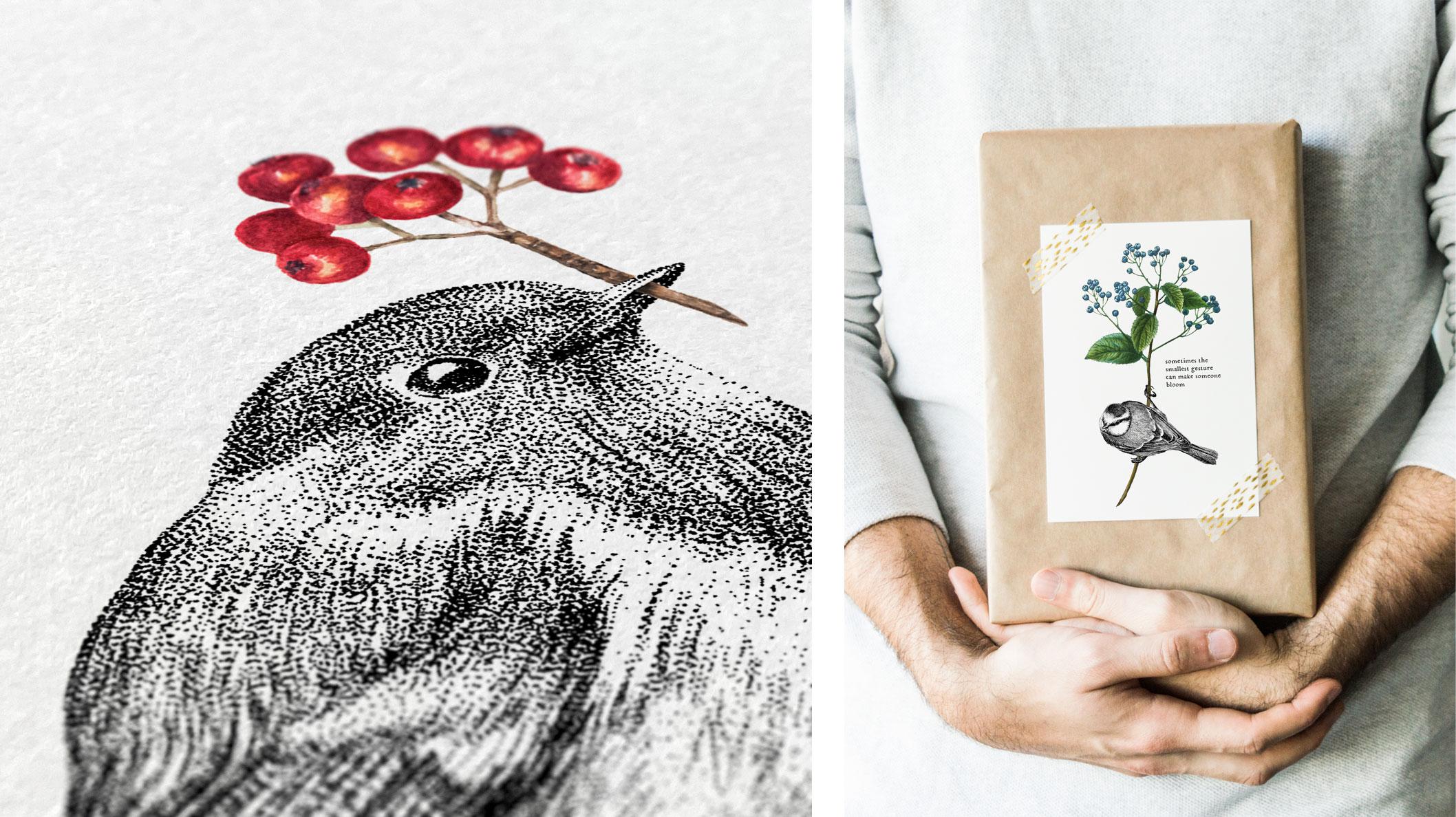 Melisse print kaart roodborstje pimpelmees